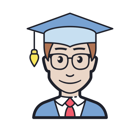 Student Male icon in Color Hand Drawn