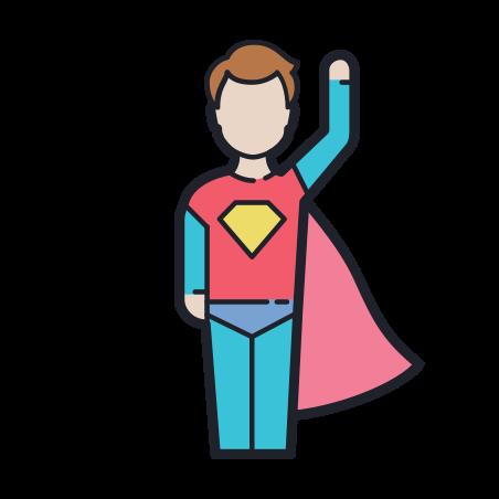 Super Hero Male icon in Color Hand Drawn
