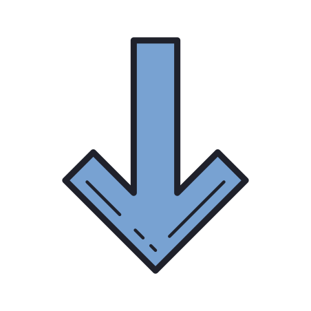 두꺼운 화살 가리개 icon in Color Hand Drawn