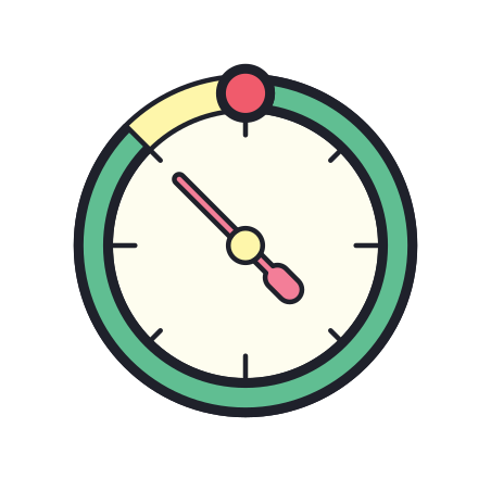Timer icon in Color Hand Drawn