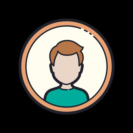 Male User icon in Color Hand Drawn