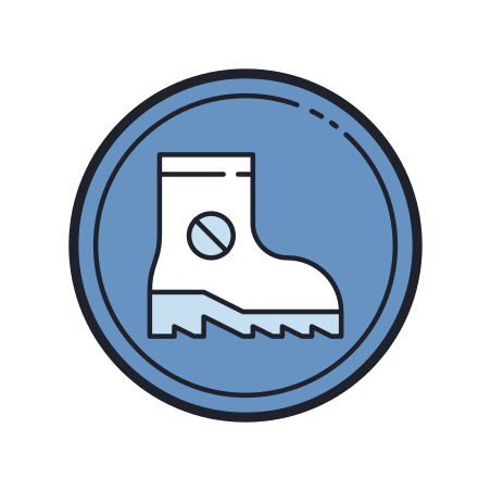Wear Anti Static Boots icon in Color Hand Drawn