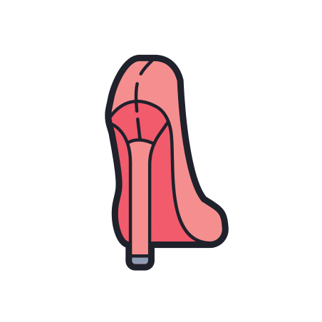 Women Shoe Back View icon in Color Hand Drawn