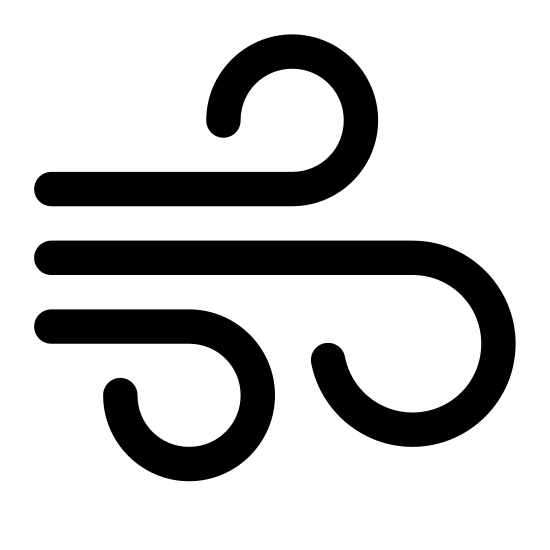 Air icon. This particular icon features three black lines that have ends that curve. The middle one has the biggest curve, and the other two on the outside are curled away from the big one in the middle.