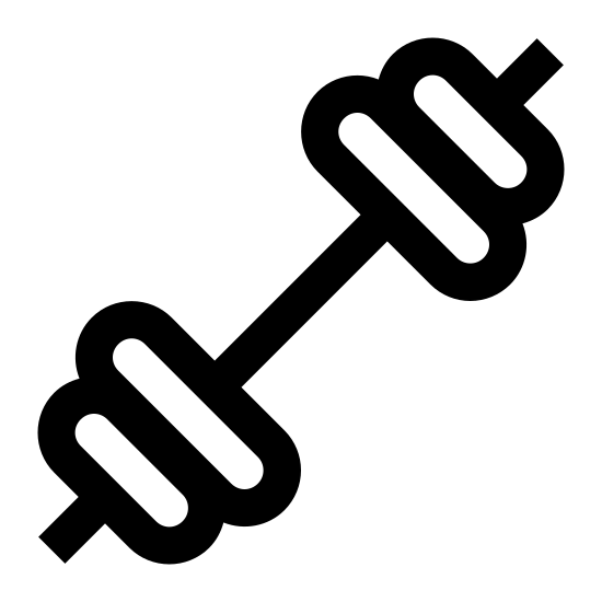 Barbell icon. This icon is a barbell.  There is a long, narrow rectangle in the middle.  On each side there are two 3d circles, smaller one on the outside and a larger one on the inside. at the very end of the smaller circle is a tiny rectangle, meant to be the end of the barbell poking through the weights.
