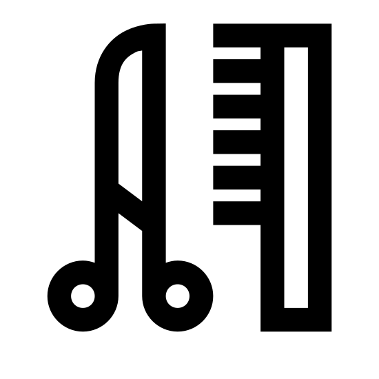 Парикмахерская icon. This icon is of a pair of scissors and a comb. The scissors are on the left and are a long thing triangle, with two medium sized circles at the bottom, with smaller black circles in the middle of them. The scissors also have a small black circle in the middle towards the base. The comb is to the right, and is one long rounded rectangular shape with 8 short black lines starting halfway up, going to the left, attached to it's left side.