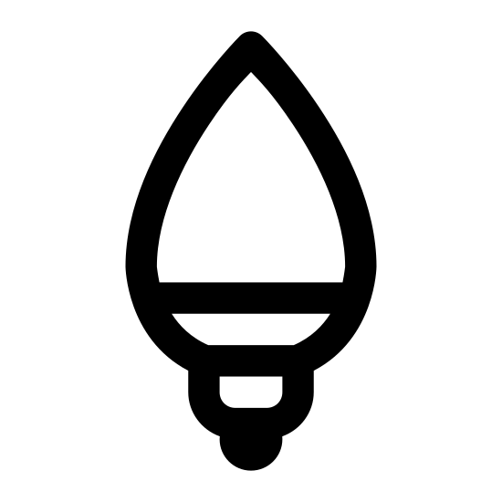 Light Bulb icon. The icon is a simple egg shaped bulb, jutting from a fixture. The light bulb stands vertically tall above its fixture, which tapers down to the socket where it plugs for power. The inner workings of the bulb are not depicted, nor anything that would imply the bulb being lit.