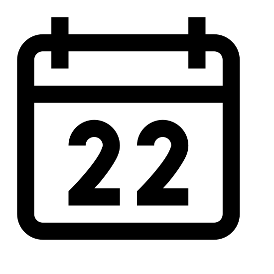 Kalender 22 icon. The logo is a calendar shape. A rectangle at the bottom, with a narrower rectangle at the top, running from left to right. At the top of the narrow rectangle are two small shapes indicating rings holding the calendar together. The number 22 is displayed in the center of the largest rectangle.