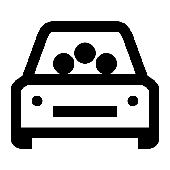 Wspólne przejazdy icon. This is an image of a car facing towards the viewer.  In the windshield of the car are three circular shapes representing people.  The car also contains headlights, side mirrors and tires.