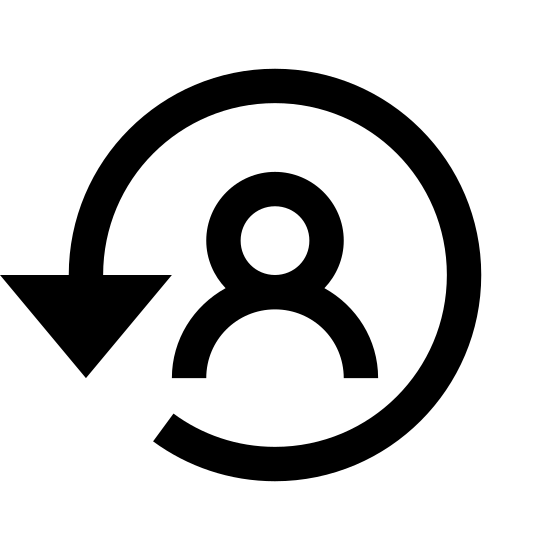 Change User icon. This is the silhouette of a human male head and shoulders. There is a line extending form the right shoulder, circling the top of the head, and coming down at the left shoulder. A letter V is at the end of the line by the left shoulder, like an arrow.