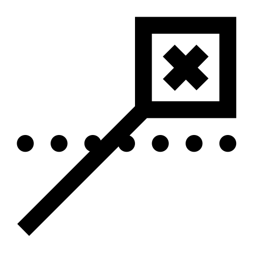 Pozycja zamknięta icon. The Close Position icon is a small X with a square surrounding it. There is a black line jutting out from the lower left corner of the square. This line is crossing a horizontal dotted line where the horizon would be.