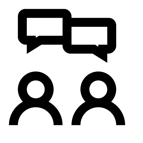 Collaboration icon. Two outlines of people from the chest up to the top of the head are positioned next to each other. There are six circles, three on each outer side, growing in size from near the people's heads until the circles are large and directly above the people's heads.
