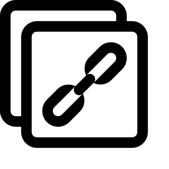 Skopiuj link icon. The image is two sheets of paper, one partially overlapping the other to the lower left, with three chain links comprising a short chain on the overlapping sheet. It symbolizes placing the link to the resource in the user's clipboard.
