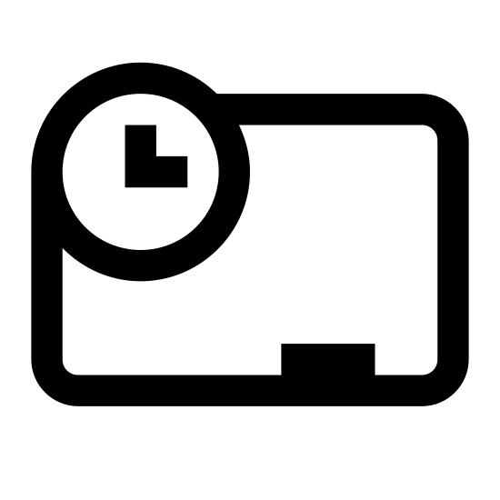 Program nauczania icon. The symbol for curriculum, a blank blackboard with a clock near the top lefct side. Chalk sits unattended on the holder under the board, and we see from the clock that it is 4 o'clock.