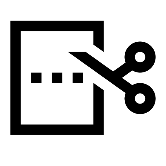 Cut Paper icon. A logo with a vertical rectangle, dashed lines across the middle of the rectangle indicating where to cut, with a scissor at the start of the dashed lines. The whole logo is not colored. Only black lines are used.