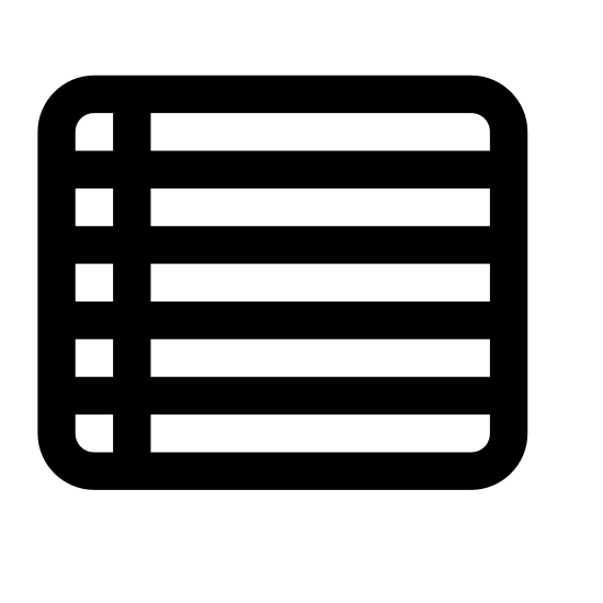 Day View icon. The icon is shaped liked a square. Inside it you will find 4 horizontal lines and one vertical line about 1/6 of the way from the left.