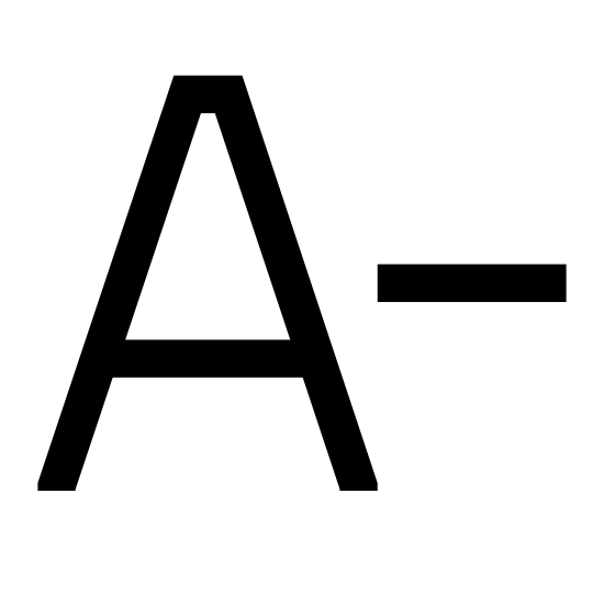 """Decrease Font icon. It's a traditional capital """"A"""" symbol, with its narrow top and diagonal sides, followed by the """"minus"""" sign to the right, representing an A minus."""