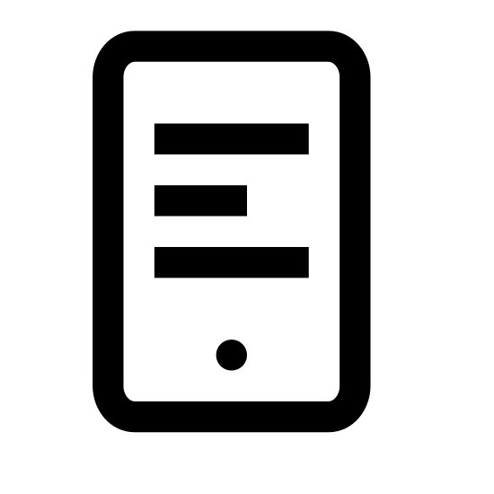 E-learning 2 icon. A rectangle that is split into two rectangles. There are five lines of text in the top rectangle. The lines are in the center of the top rectangle. The bottom rectangle has a filled circle in the center of it.