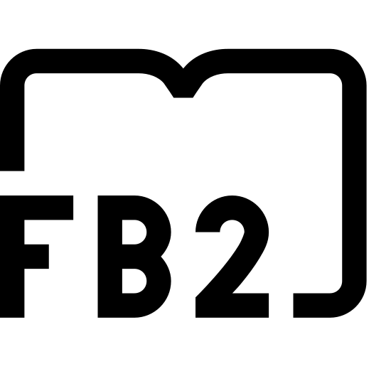 FB2 icon. This particular icon features a square with rounded edges on the left side. There is a curved line that runs from the bottom of the square and underneath it. On the square is the letter F, B and the number 2.