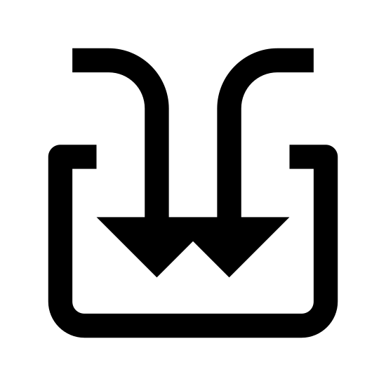 Wsadzić icon. This icon looks to be an unfinished square. Instead of having the top sides connect, there is a gap that has two arrows with curved tails going into it. The arrows are pointing down.