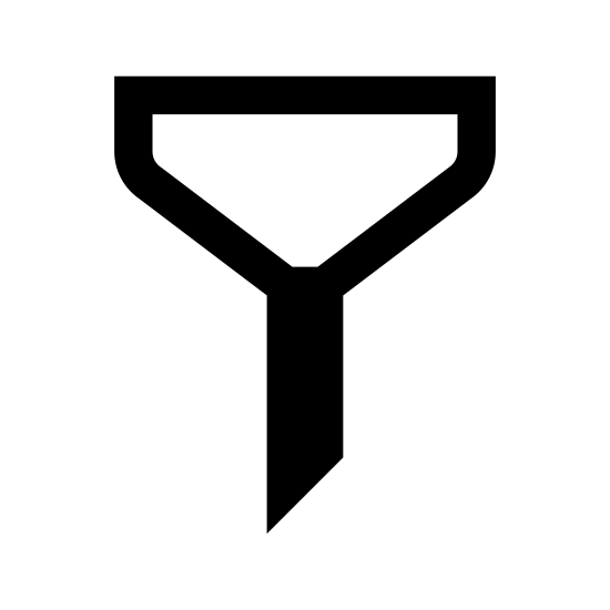 Filtr icon. The image is depicting a funnel-like object. The object is segmented into two portions, the bottom shape is rectangular and asymmetrical whereas the top half is more of a trapezoid shape with rounded corners.