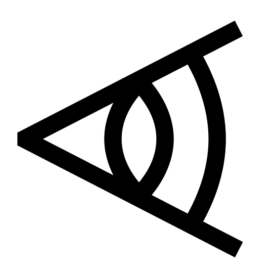 Focal Length icon. There is a single cone shape lying on it's side with the tip to the left and it's bottom face visible on the right side, beaming off the top and bottom of the bottom face is two diagonal lines, and halfway through each diagonal line is a curved line connecting them.