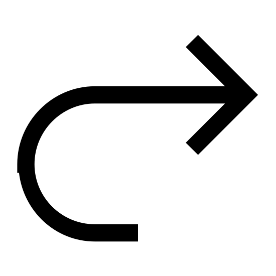 Strzałka do przodu icon. The image is an arrow pointing to the right. The pointed end is point directly to the right but the tail end comes up in a curve from below then turns right. The arrow is thick and outlined rather than being simple straight, thin lines.