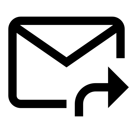 Przekaż wiadomość dalej icon. There is a rectangular envelope with the folded back. Underneath of it is an arrow pointing right as if to forward.