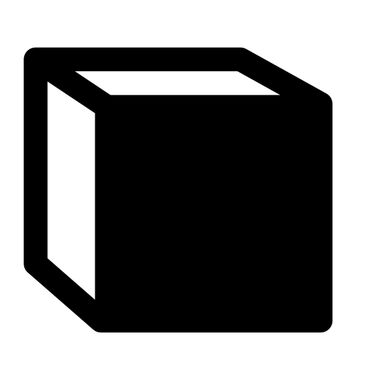 Front View icon. It's a image of a three dimensional square. The top side and the left side of the square are both blank. The front of the square is covered in many black dots
