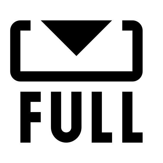 Pełna wersja icon. There is a rectangle with an arrow pointing down into the center from the top.  The base of the arrow is not filled in, the outline is one continuous line, with no breaks.  Under the rectangle is the word FULL in all capital letters.