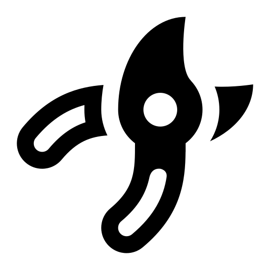 Garden Shears icon. The icon is a simplified depiction of a pair of garden shears. Its handles are smoothed, curved cylinders, leading to the blades, which pivot at a fulcrum shortly after they begin. The blades curve at the end, one tapering quickly with a slick curve to it, the other forming a convex, thick end.