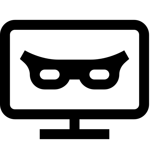 Hacking icon. The logo consists of two squares, one inside the other, to represent a monitor. Inside the monitor, on the screen, there is a set of suspicious eyes partially covered by a fedora.