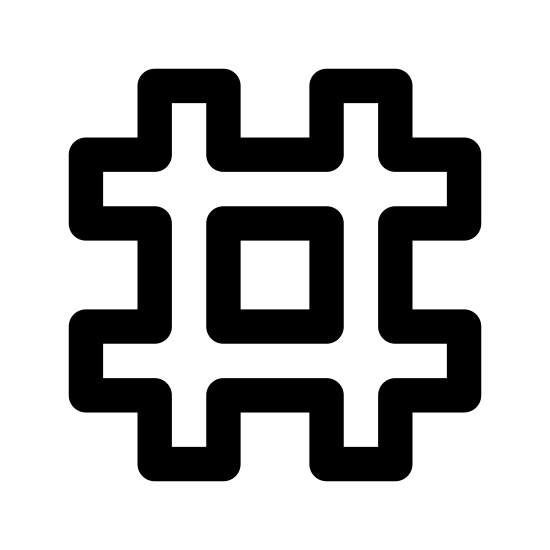 """Hashtag Large icon. The icon for """"hashtag large"""" is a large pound or number symbol. There are two lines running horizontally, stacked one on top of the other. Intersecting these two lines are two vertical lines, also equidistant from one another. The resulting image has a square at its center."""