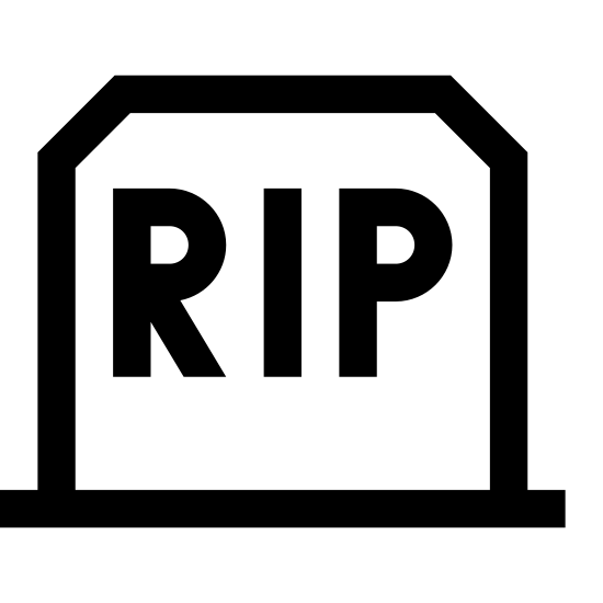 Headstone icon. The image is the outline of a headstone slightly tapered inward with beveled top edges. It has the letters rip in the center and a line on the bottom depicting the ground.