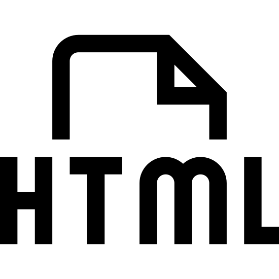 Plik typu HTML icon. There is a vertically aligned rectangle. The left and right sides are longer than the top/bottom sides. In the top right corner there is a small right triangle built into the rectangle, creating a diagonal line in place of part of the top and right sides. In the middle of the rectangle are the letters 'HTML'