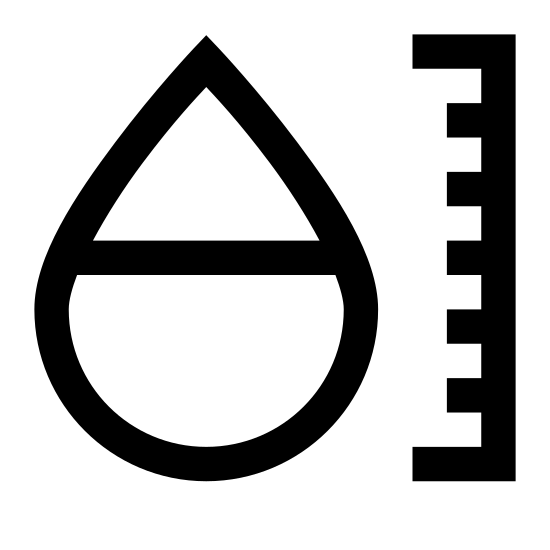 Higrometr icon. The icon is shaped like a tear drop with the bottom half of it covered in dots. To the left of the tear drop shape is a vertical line with 7 smaller connecting horizontal lines facing left. The top, middle and, bottom lines are slightly bigger than the others.