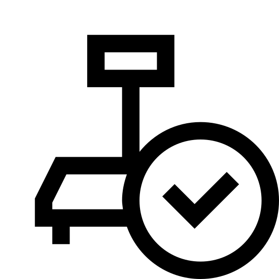 Industrial Scales Connected icon. This appears to be a trapezoid on top of a rectangle. The right side of the rectangle is covered by a circle with a V in the center of it. There are two long lines connecting the top of the trapezoid to a smaller rectangle that has a small square in its bottom right corner.