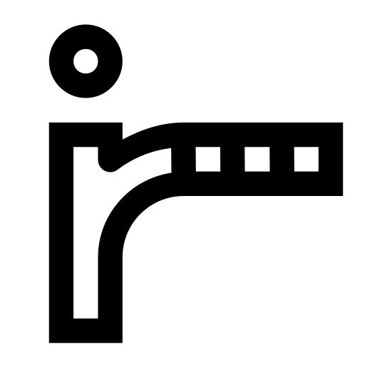 Infrared icon. The icon is shaped like a lower case I with a circle on top. The right side of the I opens up and together with the lower case I shape, starts to form a lower case R. At then end of the lower case R shape is 2 small horizontal rectangles followed by 3 horizontal lines.