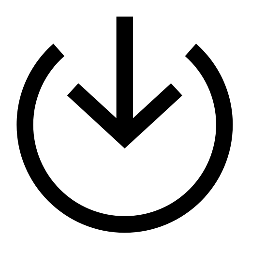Interno icon. The icon is shaped like a circle but the top of the circle doesn't fully connect. Starting from the open space when the circle doesn't connect is an arrow point down. The tip of the arrow stops at the center of the circle.