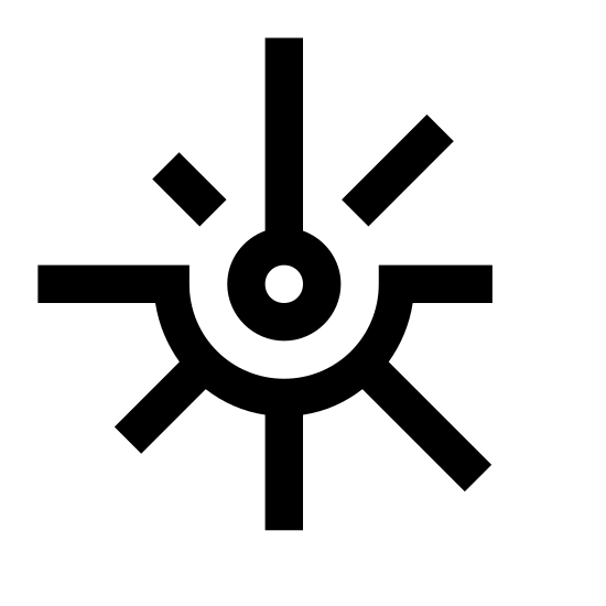 Laser Beam icon. The icon is a stylized, simple depiction of a laser beam hitting something and radiating in all directions. The beam itself comes directly from the top of the image, hitting the center with a small bulb representing the impact point. Lines extend outward from the bulb, representing the light radiating from the impact.