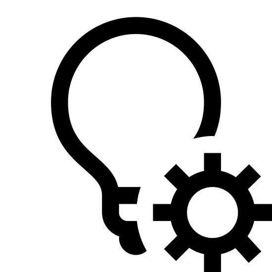 Light Automation icon. There is an image of a light bulb. it is the incandescent, screw-in, filament type bulb. To the right and slightly below is an image of a gear. They are close enough together to be seen as a single icon.
