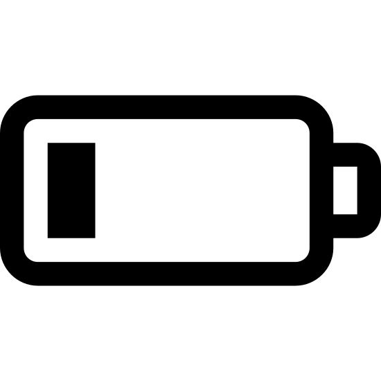Low Battery icon. This shape is basically a rectangle with rounded edges. On the right center of the shape, is what looks like the right side of a regular rectangle protruding outwards. On the inside are two vertical lines on the left.