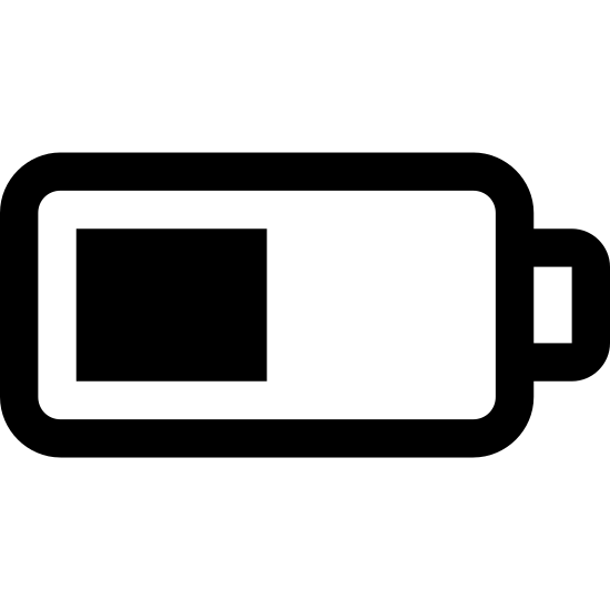 """Battery Level icon. The logo for a """"half-charged battery"""" is a battery on its side. When the battery is full it will have a number of vertical lines to fill up the space inside the battery. As the battery life drains, the lines representing the percentage of battery life are left. When the battery is half-charged, only half of the battery has these vertical lines."""