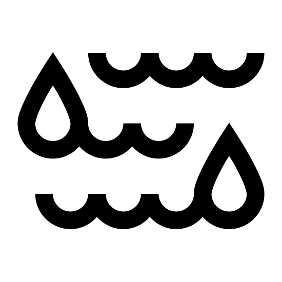 Wilgoć icon. The icon is a series of three peaked waves, arranged to be parallel to each other, with two large water drops on top of the top and bottom peaked waves. Each wave has four peaks. The icon is representative of liquid moisture being present.
