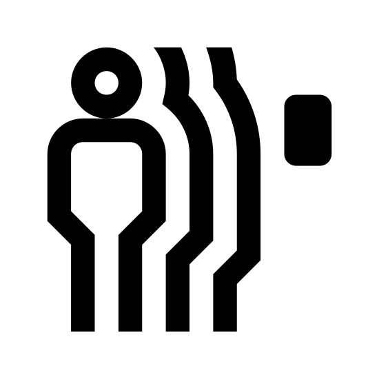 Czujnik ruchu icon. It's an image depicting a Motion Detector. The image shows a man and shadows of the man next to a small motion detection device.