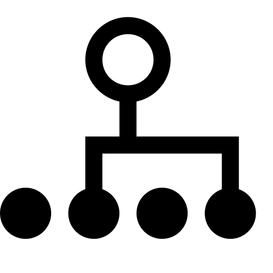 Multidifusión icon. There is a medium sized circle on the left. Attached are two squiggly arrows directed towards two of four small circles vertically aligned to the right of the larger one.