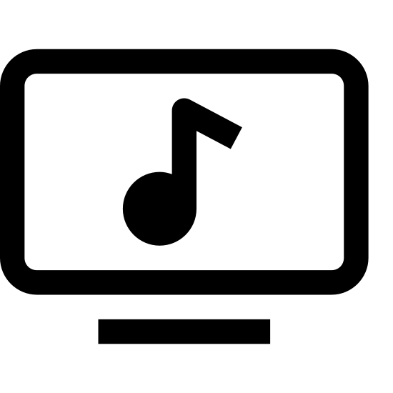 Music Video icon. This particular icon has a rectangle shape outline that is sitting on top of a black line which looks like a stand. In the middle of the rectangle is a black music note.