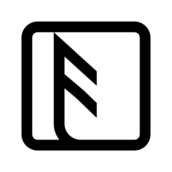 NFC F icon. The NFC F object is a keyboard key with an F inside of it. The F is curve roughly forty five degrees downward and to the left.The bottom of the F is at the same angle and joins the key.