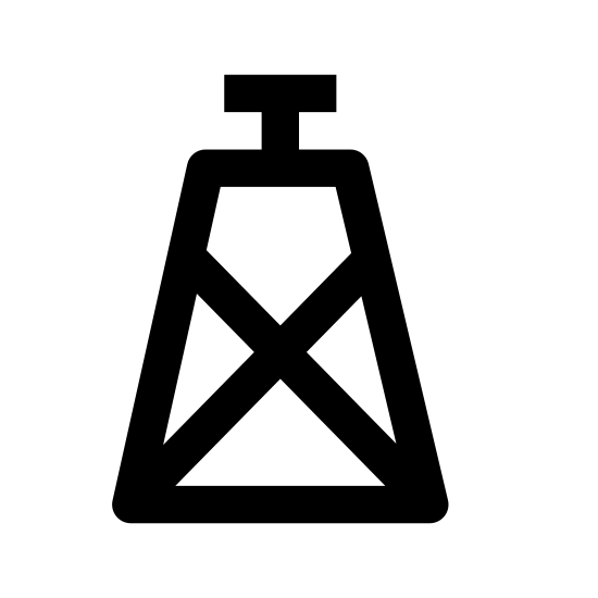 Platforma wiertnicza icon. There is a rectangle with a zig zag design with a line right in the middle. The line goes right up to the top where some droplets of liquid is coming out of it.