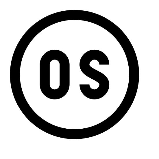 System operacyjny icon. There is a circle. inside of the circle there are 2 letters. the 2 letters are O and S and they cover the majority of the inside of the circle.